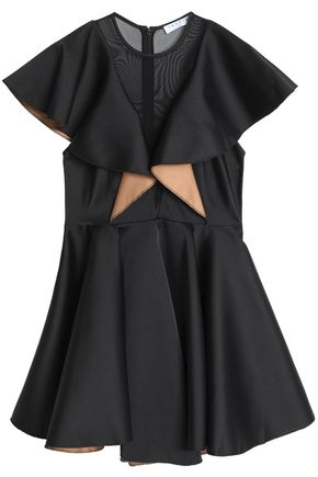 SANDRO Tulle-paneled ruffled satin-crepe mini dress