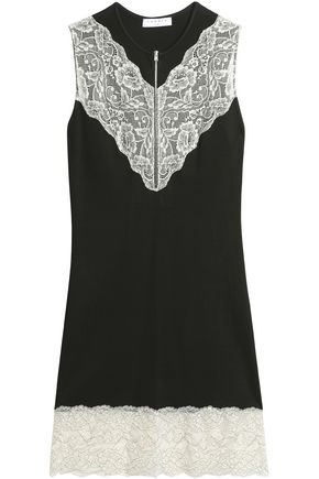 SANDRO Lace-paneled stretch-knit dress