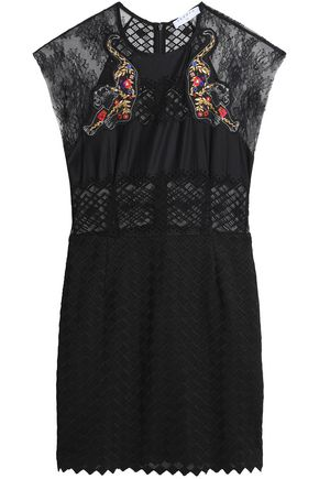 SANDRO Lace-paneled embroidered lace mini dress