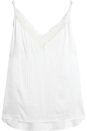 SANDRO Paris Lace-trimmed pintucked crepe de chine camisole