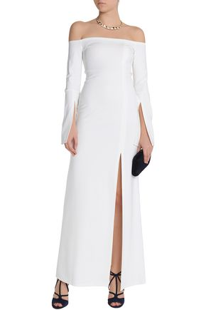 ALEXIS Off-the-shoulder split-front stretch-jersey maxi dress