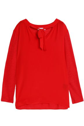 SANDRO Pussy-bow slub silk and linen-blend top