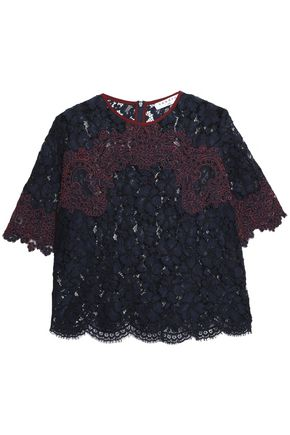 SANDRO Two-tone embroidered corded lace top
