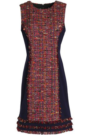DIANE VON FURSTENBERG Paneled bouclé-tweed and jersey dress
