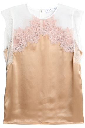 SANDRO Tulle and corded lace-paneled silk-satin top