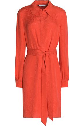 DIANE VON FURSTENBERG Belted silk-jacquard mini dress