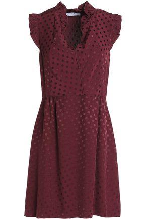 SANDRO Ruffled jacquard mini dress