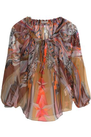 EMILIO PUCCI Gathered printed silk blouse