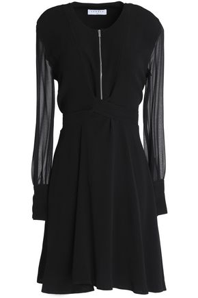 SANDRO Georgette-paneled fluted crepe mini dress