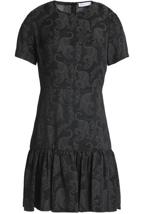 SANDRO Tigerlilly pleated jacquard mini dress