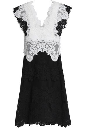 SANDRO Paneled corded lace mini dress