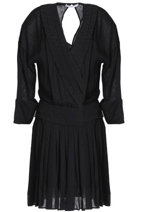 SANDRO Paris Pleated crepe-jacquard wrap-effect mini dress
