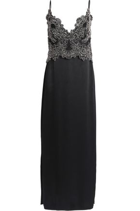 SANDRO Corded lace-paneled satin slip dress