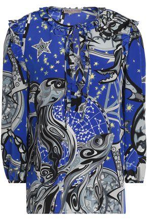 EMILIO PUCCI Ruffled printed silk blouse