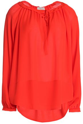 EMILIO PUCCI Tie-front gathered silk blouse