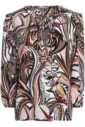 EMILIO PUCCI Ruffled printed silk crepe de chine blouse