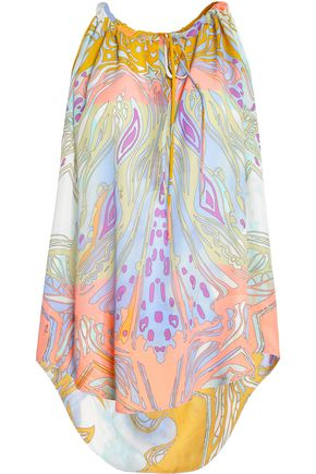 EMILIO PUCCI Gathered printed silk crepe de chine top