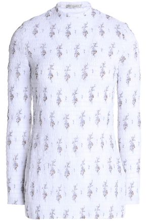 EMILIA WICKSTEAD Smocked floral-print cotton-gauze top