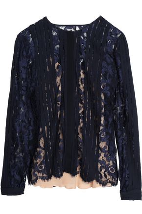OSCAR DE LA RENTA Appliquéd lace top