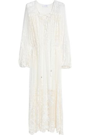 ZIMMERMANN Lace-up embroidered silk-chiffon midi dress