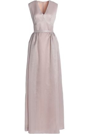 EMILIA WICKSTEAD Pleated metallic embroidered cotton-blend gown