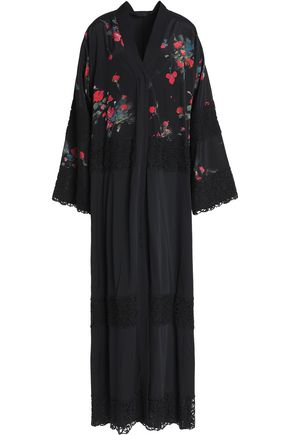 DOLCE & GABBANA Lace-trimmed floral-print silk and cotton-blend maxi dress