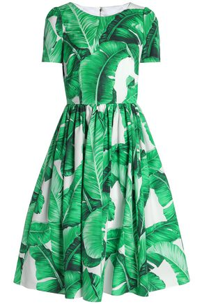 DOLCE & GABBANA Pleated printed cotton-poplin dress