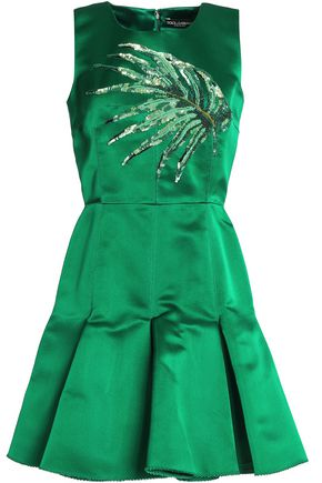 DOLCE & GABBANA Pleated embellished silk-satin mini dress