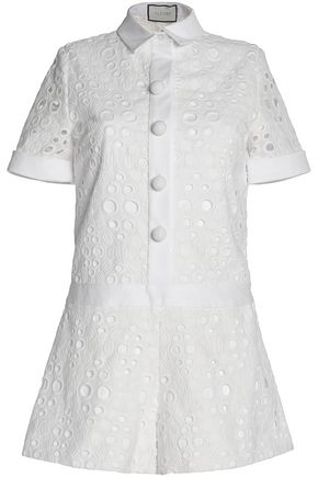ALEXIS Broderie anglaise cotton playsuit