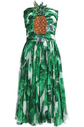 DOLCE & GABBANA Ruched embellished silk-chiffon dress