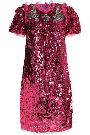 DOLCE & GABBANA Ruffle-trimmed embellished sequined dress