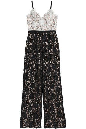 WOMAN HOPE TWO-TONE GUIPURE LACE JUMPSUIT BLACK