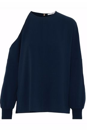 TIBI Asymmetric cutout crepe top