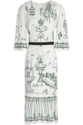 DOLCE & GABBANA Pleated printed crepe dress