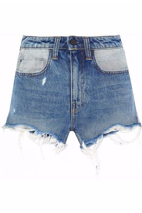 ALEXANDER WANG Distressed two-tone denim shorts