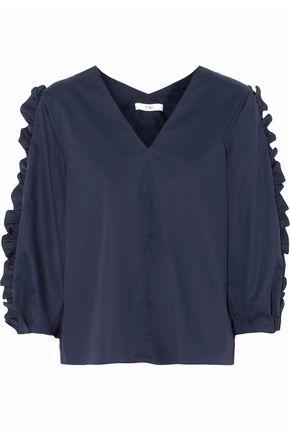 TIBI Ruffled cotton-poplin top