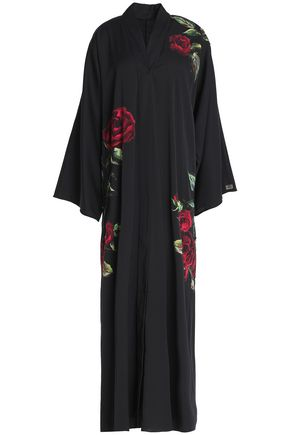 DOLCE & GABBANA Floral-appliquéd silk-blend maxi dress