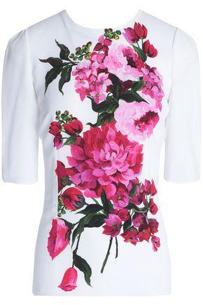 DOLCE & GABBANA Floral-print washed-crepe top