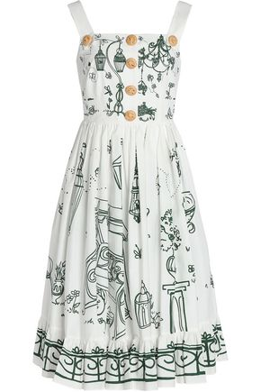 DOLCE & GABBANA Pleated printed cotton-poplin dress