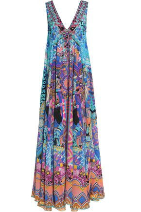 CAMILLA Embellished printed silk-georgette maxi dress