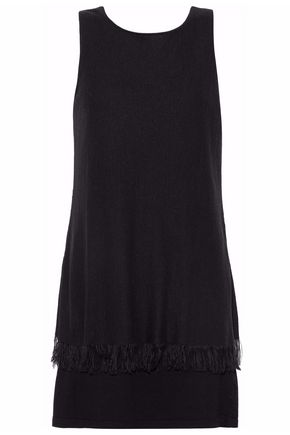 THEORY Layered fringed cady mini dress
