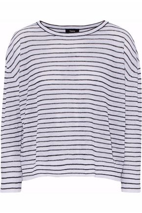 THEORY Striped linen-blend top