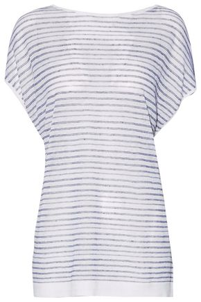 THEORY Tie-back striped linen-blend knitted top