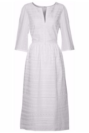 VILSHENKO Pleated embroidered cotton midi dress