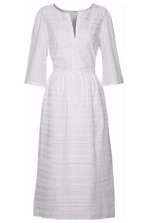 VILSHENKO Pleated embroidered cotton midi dress