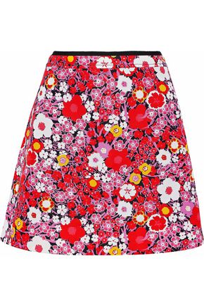 VICTORIA, VICTORIA BECKHAM Flared floral-print cady mini skirt
