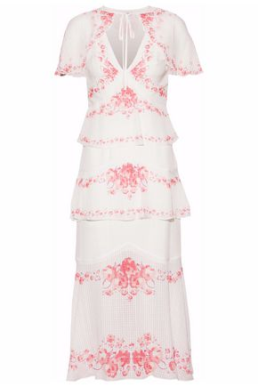 VILSHENKO Tiered floral-print silk-seersucker midi dress