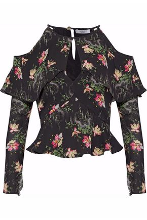 VILSHENKO Cold-shoulder floral-print silk crepe de chine top