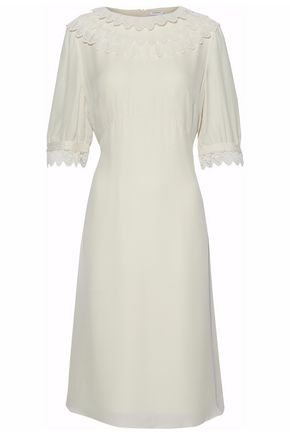 VILSHENKO Lace-trimmed pleated silk crepe de chine dress