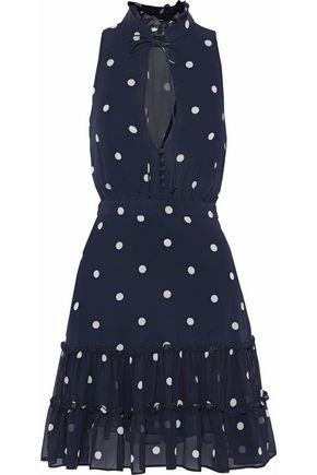 NICHOLAS Ruffled polka-dot silk-georgette mini dress